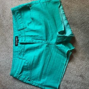 Turquoise jean shorts forever 21